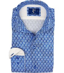 r2 shirt blauw print katoen