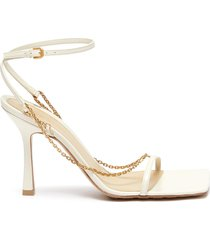 chain anklet square toe leather sandals