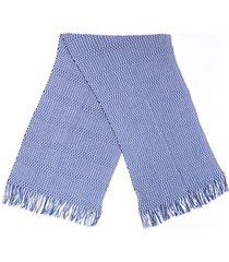 missoni blue white chevron wool fringe scarf blue/white sz: