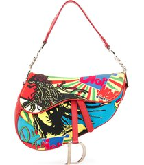 christian dior pre-owned rasta saddle shoulder bag - red