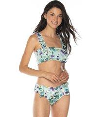 vestido de baño estampado bikini tela ecológica-menta