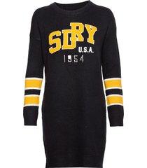 superdry appliqué logo knit dress stickad klänning blå superdry