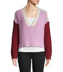 wildfox women's colorblock cotton sweater - crepe multi - size m
