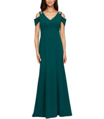 alex evenings beaded-shoulder gown