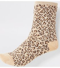 river island womens brown glitter leopard print ankle socks