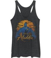 disney juniors' aladdin genie silhouette tri-blend tank top