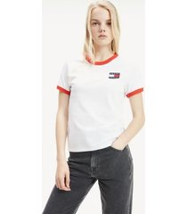 tommy hilfiger women's badge ringer t-shirt classic white - xl