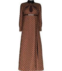 gucci monogram-print pleated dress - brown