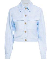 jaqueta curta em linho isabella florentino para oqvestir - azul