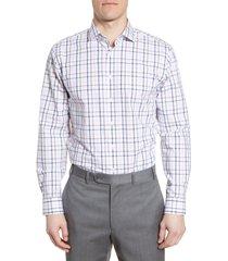 men's nordstrom men's shop tech-smart trim fit stretch windowpane dress shirt
