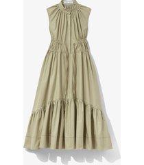 proenza schouler white label poplin sleeveless dress stone/green 2