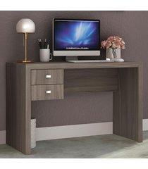 mesa escrivaninha 2 gavetas me4123 carvalho - tecno mobili