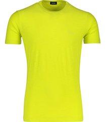 t-shirt diesel neon geel ronde hals katoen