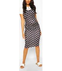 maternity polka dot 2 in 1 bodycon dress, black
