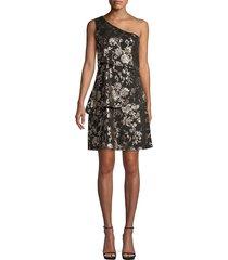 ava & aiden women's one-shoulder asymmetrical dress - black foil - size m
