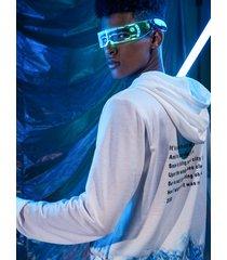 hombres hip hop estilo digital distorsión carta paisaje imprimir cordón capucha