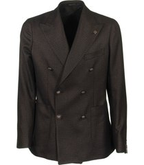 tagliatore double breasted jacket with micro pattern in black and copper blazer