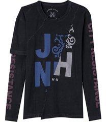 camiseta john john resistance masculina (preto, gg)
