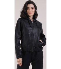 jaqueta feminina bomber com capuz e manga longa preta