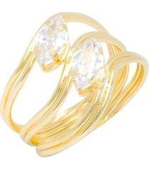 anel kumbayá 3 fios tipo onda banho de ouro 18k - feminino