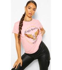 gebleekt eagle rock t-shirt met tekst, terracotta