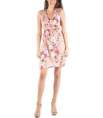 24seven comfort apparel sleeveless v-neck empire waist floral cocktail dress