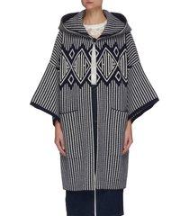 logo pattern stripe wool cashmere blend hood coat