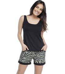 short doll zebra lounge com regata preta - preto/verde/zebra - feminino - viscose - dafiti