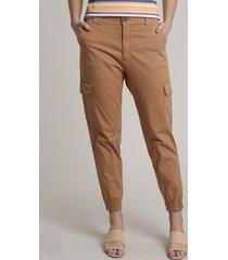 calça de sarja feminina jogger cargo cintura média caramelo