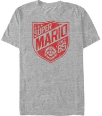 nintendo men's super mario since '85 shield logo short sleeve t-shirt