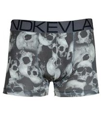 cueca boxer kevland black and white skulls
