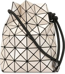 bao bao issey miyake geometric patterned drawstring bag - brown