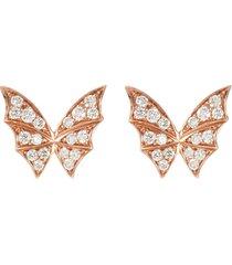 'fly by night' diamond 18k rose gold stud earrings