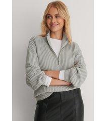 na-kd reborn ekologisk stickad tröja med dragkedja fram - grey