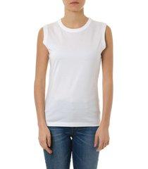 maison margiela sleeveless white cotton t shirt