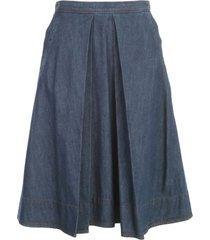 aspesi denim pleated skirt