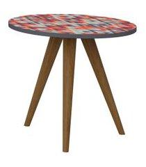 mesa lateral 400 expresso/estampa vermelha be mobiliário