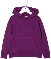 bonpoint distressed print hoodie - purple