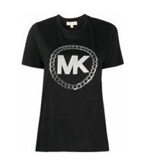 michael michael kors camiseta com estampa de logo metálico - preto
