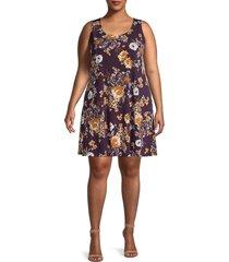 karen kane women's floral-print mini dress - duchess rose - size 1x (14-16)