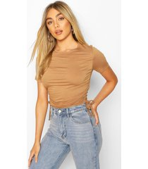 crew neck ruched side t-shirt, camel