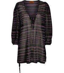 missoni mare glitter zigzag patterned beach dress - black