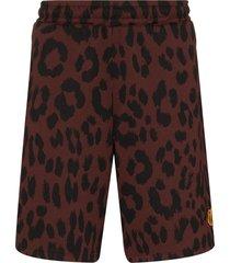 kenzo leopard print shorts - brown