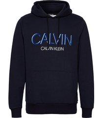 calvin shadow logo hoodie hoodie trui blauw calvin klein