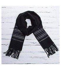 men's alpaca blend scarf, 'andean clouds in black' (peru)