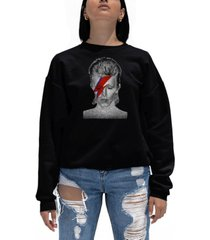 women's david bowie aladdin sane word art crewneck sweatshirt