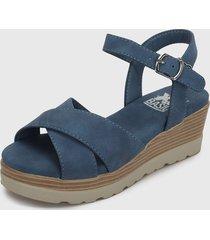 sandalia plataforma azul xti