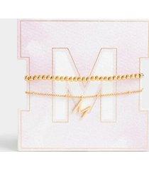 delicate initial bracelet set - m