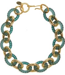 green mirrored sea necklace