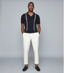 reiss vega - embroidered cuban collar polo shirt in navy, mens, size xxl